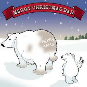 CAN15 - Cheeky Polar Bear Dad Christmas Card